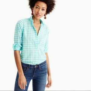{J. Crew} Green Gingham Perfect Button-Down Blouse
